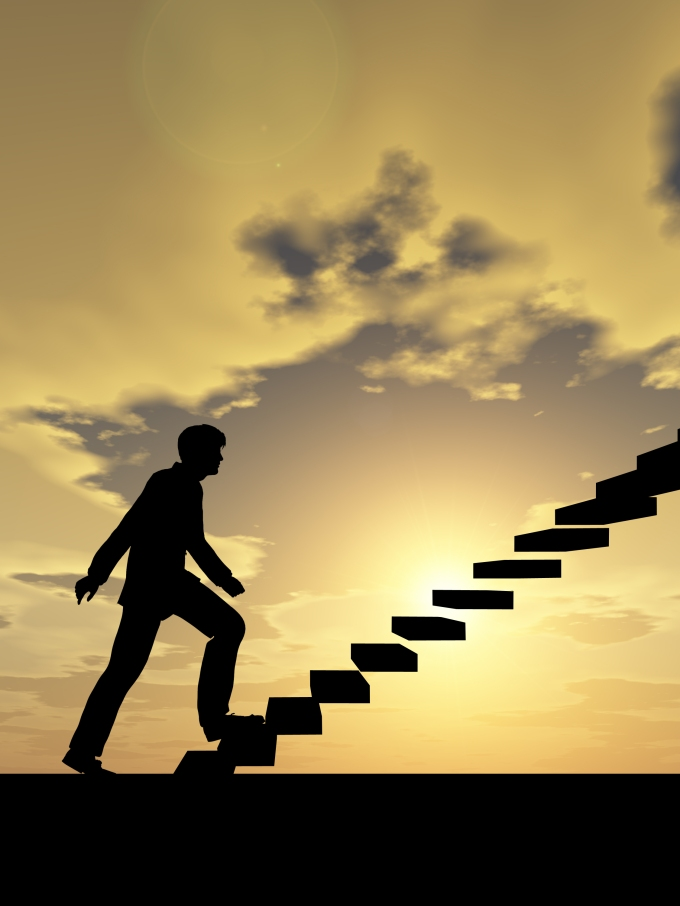Concept or conceptual 3D male businessman on stair or steps over